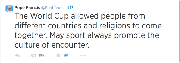 Pope Tweets on the World Cup.